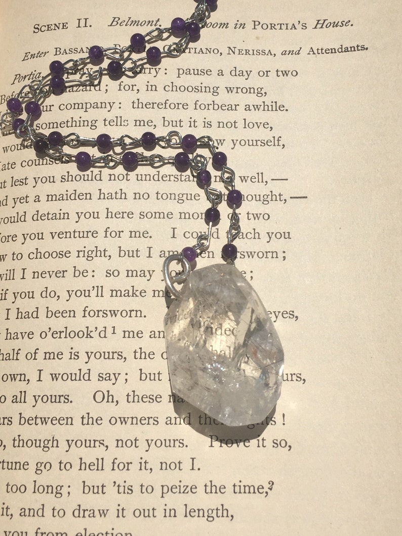 Silver rutilated quartz necklace-healing crystal jewelry-amethyst and quartz-bohemian pendant-witchy amulet-light worker-meditation