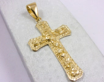 """2 1//4/"""" Nugget Textured Cross Pendant Charm Real Solid 10K Yellow Gold"""