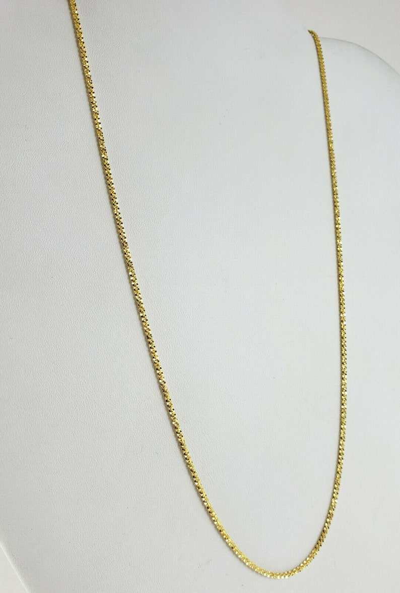 2.9 grams Solid 14K Yellow Gold 18 Shimmering Popcorn Chain Necklace 1.4mm