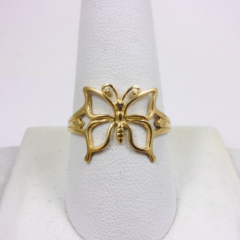 59d6869b130aa Solid 14K Yellow Gold Large Pierced Butterfly Ring, Sizes 3 - 9
