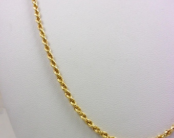 """Solid 14K Yellow Gold 21"""" Rope Chain Necklace 2.5mm 11.6 grams, 20"""" 22"""""""