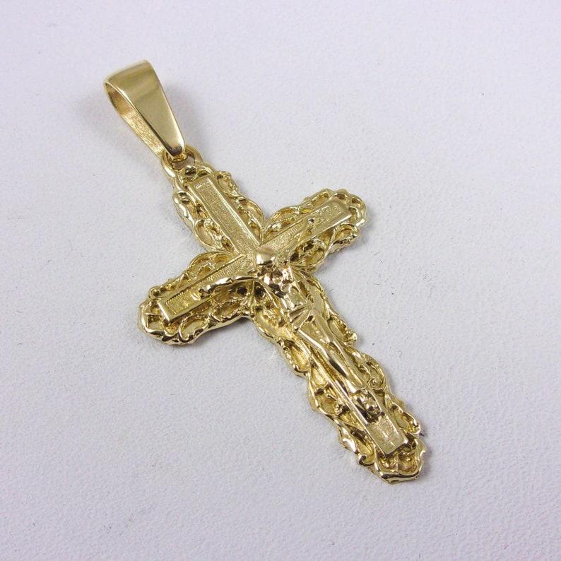"14K Yellow Gold Jesus Christ Face Crucifix Cross Pendant Charm 1.8/"" 2.8 grams"