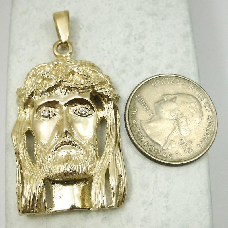 153695c57cc4 Solid 10K Yellow Gold Heavy Large Diamond Jesus Piece Face