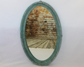 TURQUOISE cottage chic framed mirror,oval mirror,wall hanging mirror,up-cycled mirror,distressed mirror,wall decor,cottage chic decor