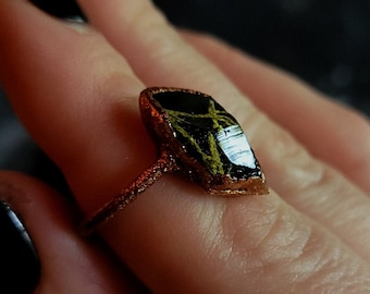 Size 9 Enchanted Forest Crystal Moss Lichen Swamp Witch Elf Fairy Goblin Gnome Goth Black Forestcore Copper Resin Electroformed RIng