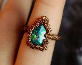 Size 8.5 Fantasy Crystal Turquoise Enchanted Forest Fairy Elven Witch Mermaid Fairytale Handmade OOAK Resin Copper Ring