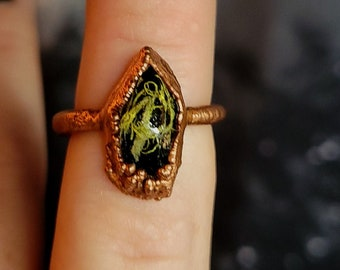 Size 7 Moss Forest Crystal Swamp Witch Lichen Plant Nature Enchanted Goth Black Green Resin Ring