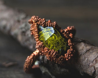 Lichen Moss Forest Crystal Copper Electroformed Resin Ring