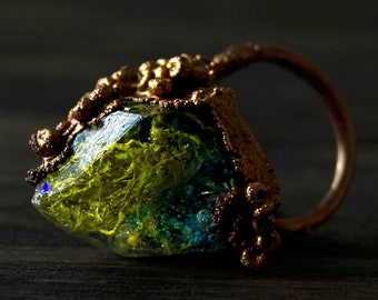 Lichen Iridescent Mermaid Teal Copper Electroformed  Crystal Resin Opal Ring