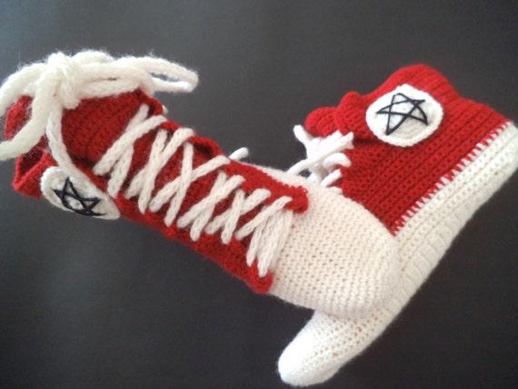 38a52d01333 Crochet sneakers novelty slippers ankle wool socks red