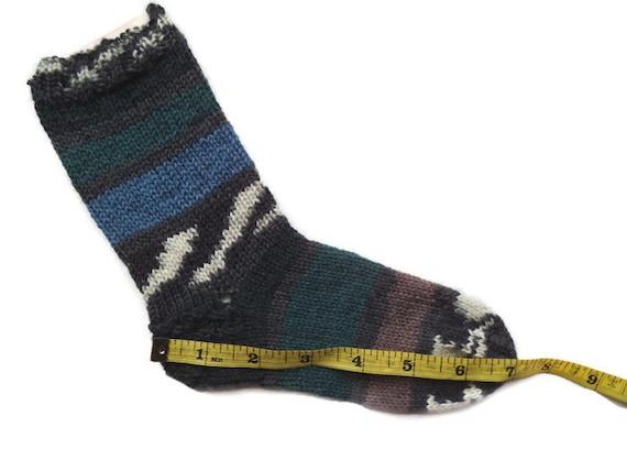 Chaussettes enfant en bas âge, à la main tricot chaussettes, chaussettes confortables chaudes, chaussettes de laine, chaussettes d'hiver, tricot chaussettes, chaussettes de la maison, unique chaussettes, chaussettes bleus verts