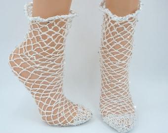 White ankle fishnet socks with sequins crocheted hipster socks popular  fashion white  socks Black Friday Sale