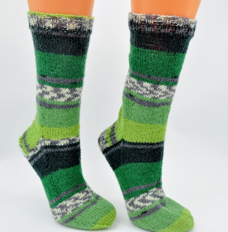 Hand knitted green socks womens socks ladies socks feet image 0