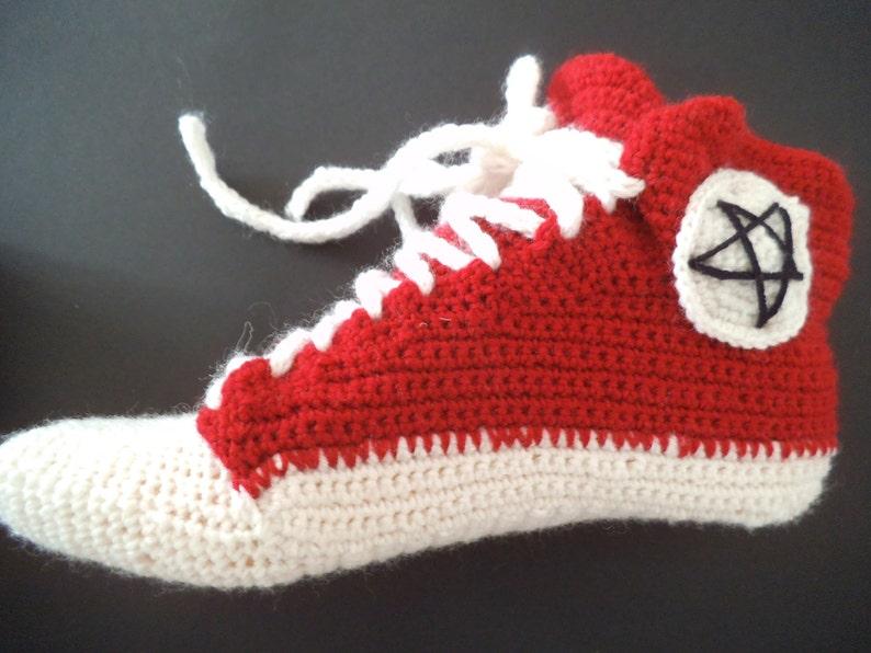 Crochet sneakers novelty slippers ankle wool socks red slippers crochet slippers fashion modern socks teen socks knit US 5-13