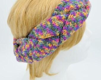 Colorful Braided headband for women, Crochet Earwarmer, Headwrap, Winter Ear Cover, Head Band