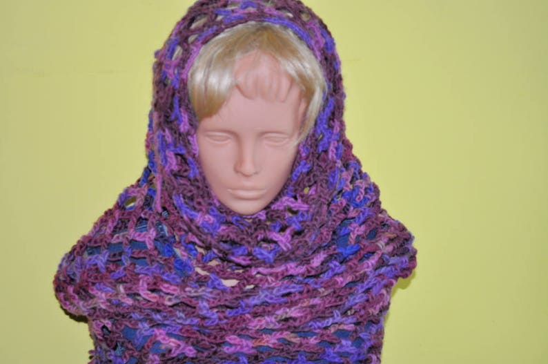 Crocheted scoodie  hooded cowl neck warmer  hooded scarf image 0