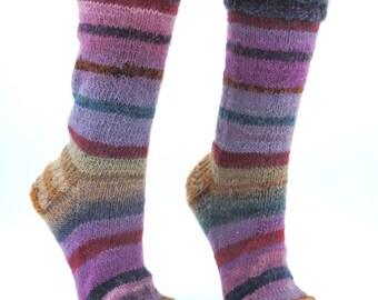 Hand knitted womens wool socks, handmade knitted crazy socks, striped socks, multicolored, mismatched socks, unique socks, fun odd socks