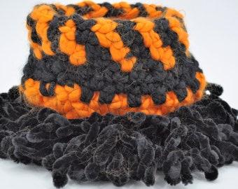 Halloween basket, black and orange bowl, home decor