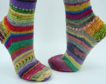 Wool socks for women US 5 - 7 mismatched bright stripe socks in summer colors