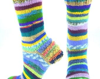 Acrylic socks colorful socks unique socks cute socks knit socks cool womens knitted socks gift scrappy OOAK happy socks