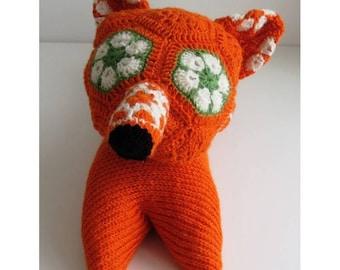 Amigurumi fox stuff animal fox plush toy crochet fox animal toddler gift for child orange fox doll knitted toy CE certified REAdy to ship