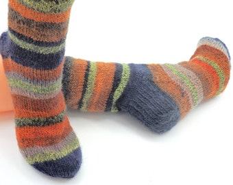 Knitted striped patterned wool socks, Women US 6 - 8,  Unique OOAK ladies hand knitted orange green wooly socks