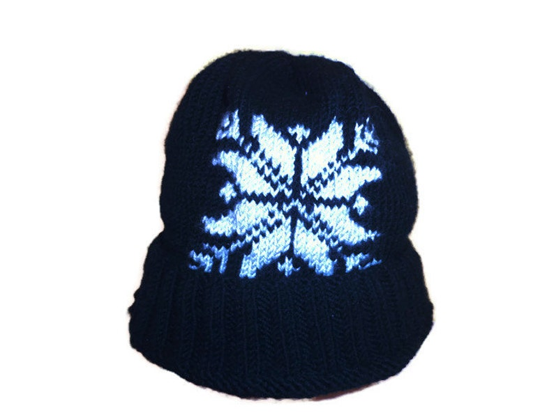 Knit black wool hat mens athletic hat winter hat mens hats image 0