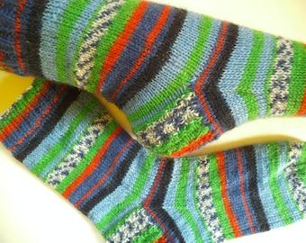 Knit wool socks, unique socks, Women socks, Art socks, Multicolor socks, House socks, striped socks,  Boot socks, Unisex socks, Gift for her
