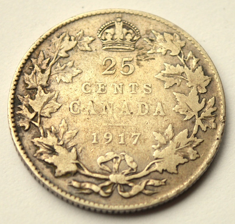 Canada 25 Cents 1917 year