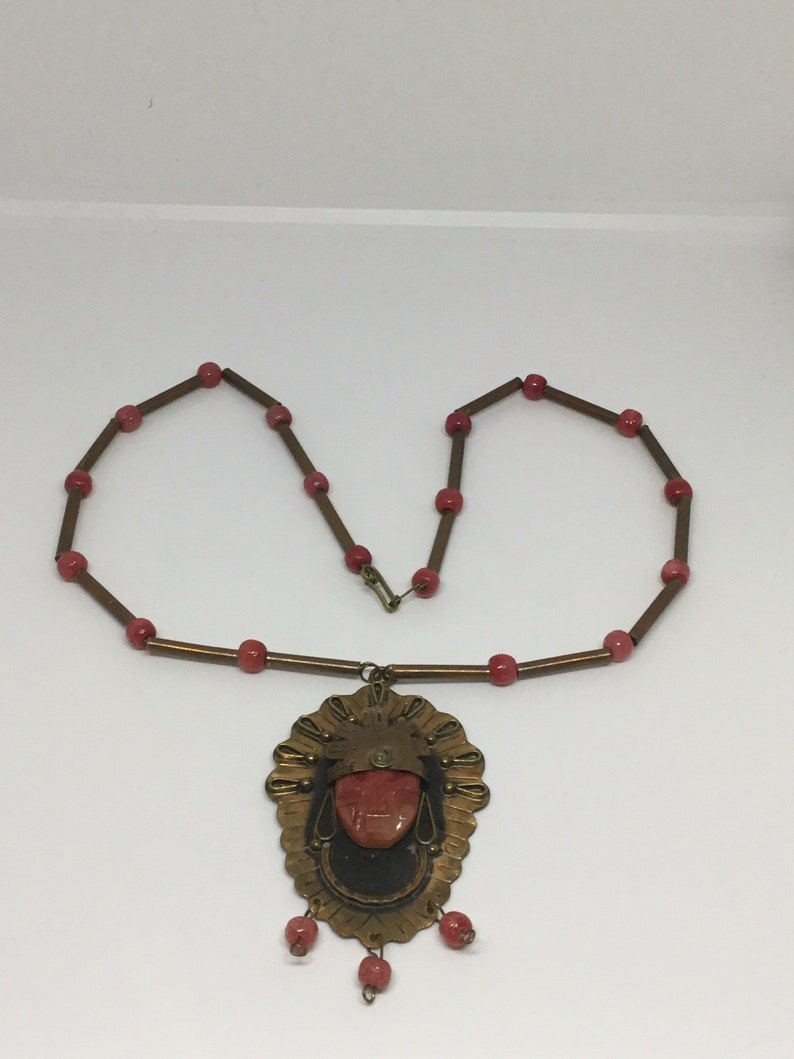 On Sale A 1930s Stone Carved Aztec Necklace
