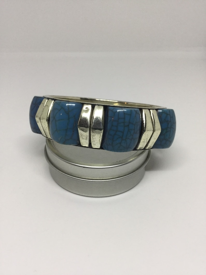 On Sale A Vintage Silver /& Turquoise Bangle