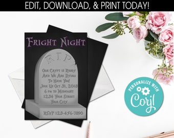 diy printable invitations halloween tombstone holiday corjl 29