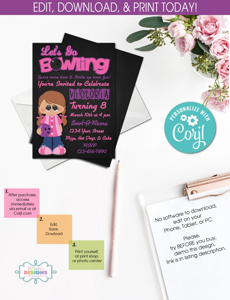 ON SALE DIY Bowling Party Invitations Sports Party Instant Access Bowling Party Pink Girl Birthday Party Templett 379