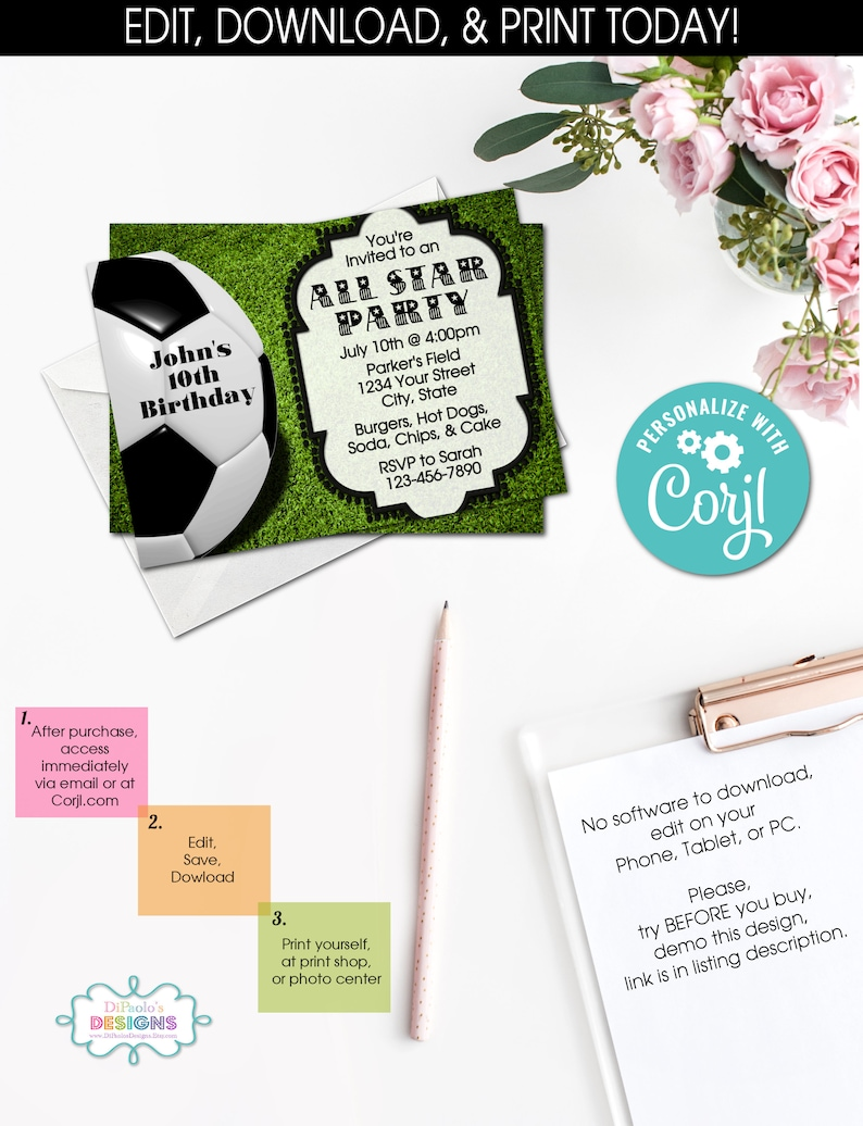 ON SALE DIY Soccer Invitation, Allstar, Soccer Birthday, Instant Access,  Printables, Invitation, templett, #500