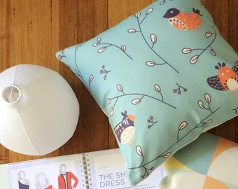Birdie in Garden of Flower Cushion Cover | Retro Bird Flower Pillow Cover | Blue Red Pillow Cover