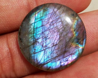23cts Multi Labradorite 24mm Round Shape Wholesale Semiprecious Loose Gemstone Cabochon for Jewelry