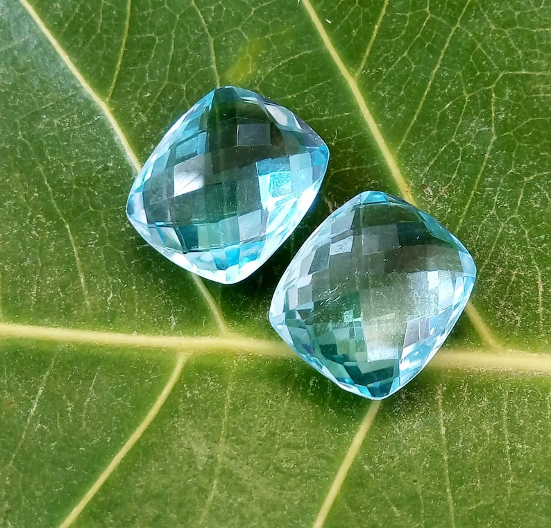 Natural Blue Topaz Faceted Gemstone Cabochon 1 Pair Square Shape Blue Gemstone Perfect For Jewelry