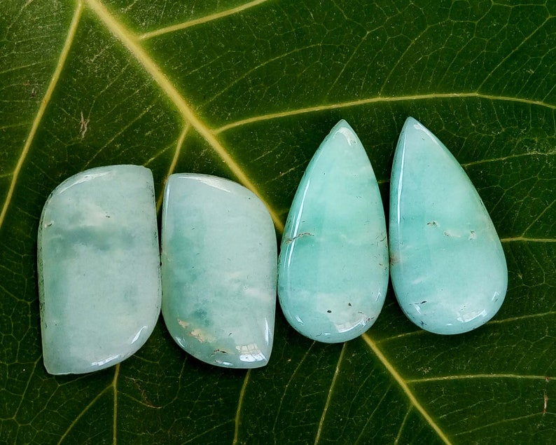 2 Pair Of Chrysoprase Gemstone Perfect For Jewelry Gemstone Cabochon