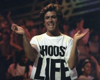 CHOOSE LIFE Wham Replica George Michael T Shirt Retro 80s Fancy Dress up to 5XL