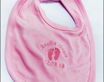 Personalised baby bib, birthday gift,  embroidered newborn baby gift, baby shower