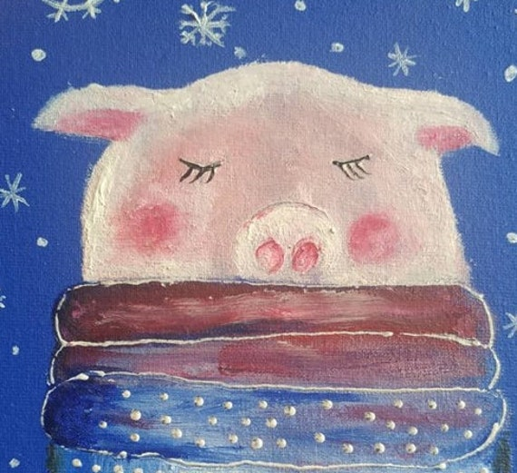 Christmas Paintings For Kids On Canvas.Funny Winter Pig Oil Painting On Canvas Funny Art For Kids Room Small Artwork Animal Painting Nursery Wall Decor Personalized Gift