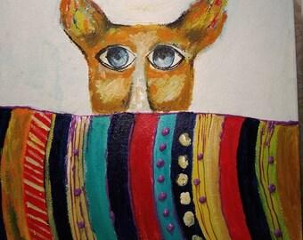 Squeaky dog.funny art,original painting,small artwork,dog painting, animal paint,children art,wall decor