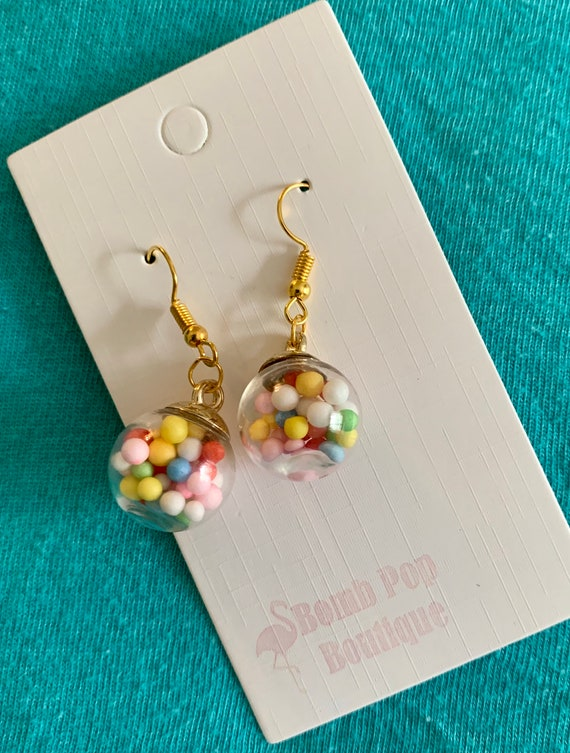Gumballs Jewelry Set Bubble Gum Candy Ball Necklace and Dangle Earrings Mix and Match Pastel Candies Set