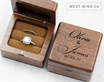 Ring Box wedding engraved ring box personalized gift Engagement Ring Box Dual Ring Holder card box wedding  ring holder ring box