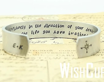 Graduation Gift- Gift for daughter, Inspirational Gift, Cuff Bracelet, Personalized Cuffs, Go Confidently in the direction of your dreams.