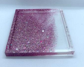 blue and purple glitter square coaster Pink
