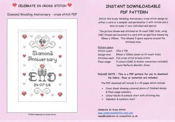 Pdf Diamond Wedding Anniversary Cross Stitch Chart Download Etsy