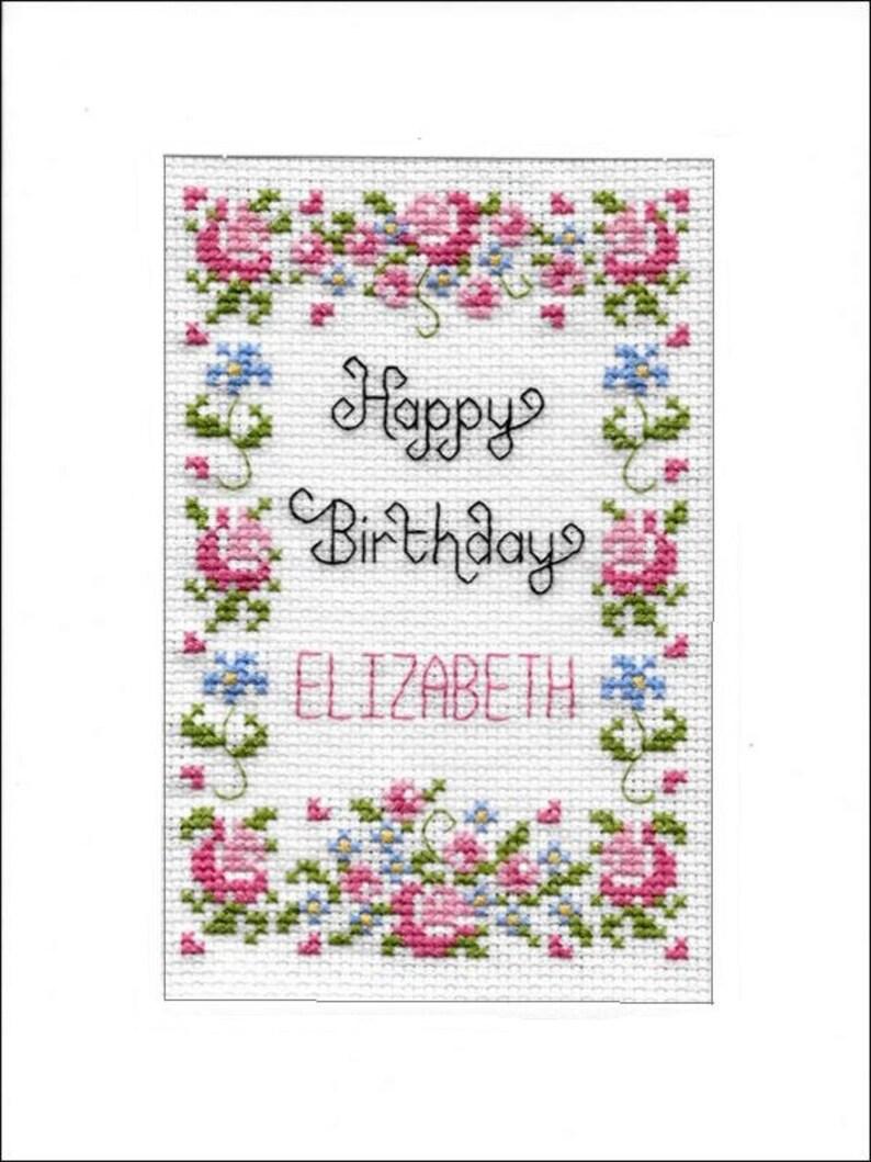 Cross Stitch Kit on 16 aida Golden Wedding Anniversary Greeting card