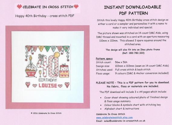 Pdf Happy 40th Birthday Cross Stitch Chart Download Etsy