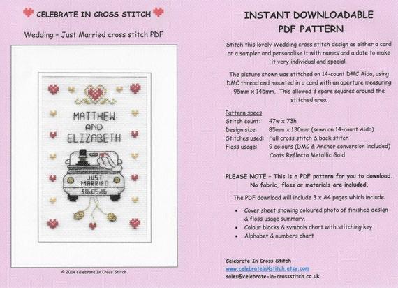 Pdf Wedding Cross Stitch Chart Download Etsy